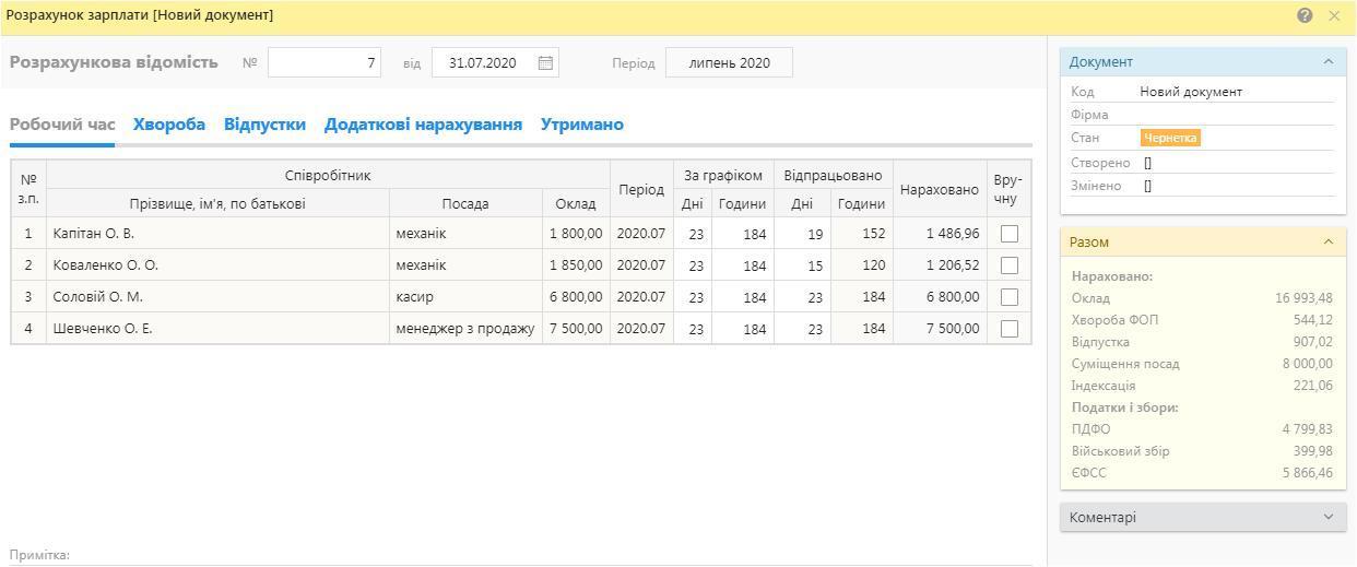 Розрахункова відомість в програмі для обліку зарплати BookKeeper