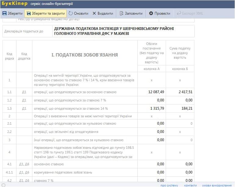 Податкові зобов'язання з ПДВ в Податковій декларації з ПДВ в бухгалтерській програмі БукКіпер